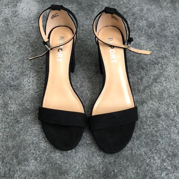 3 Inch Black Ankle Strap Sandals Heels